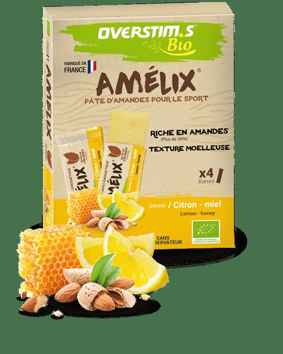 Emballage de la barre proteinée Amélix de la marque overstims