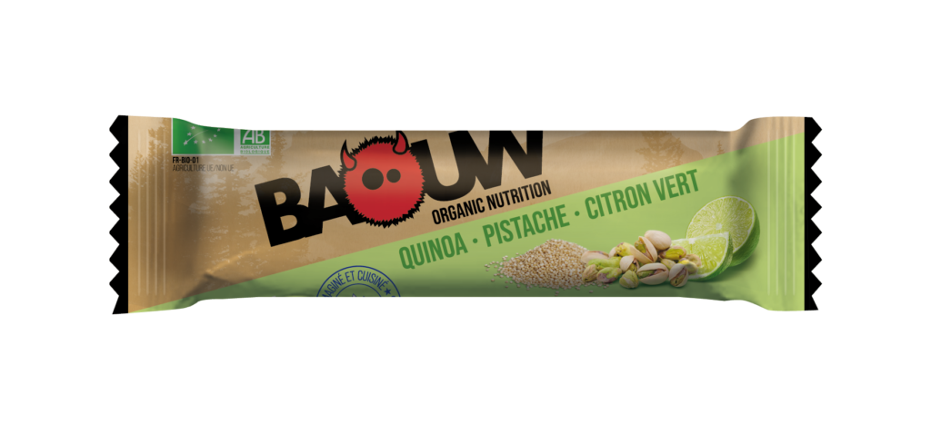 barre energétique baouw quinoa, pistache, citron vert