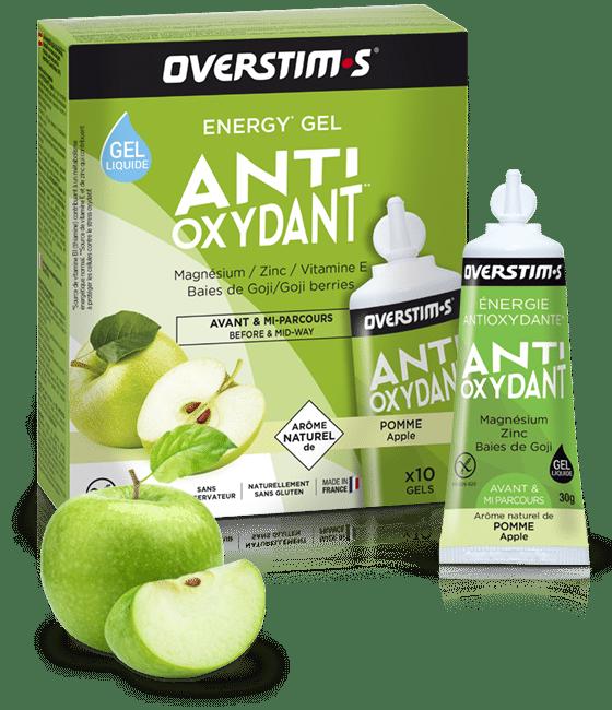 Emballage du malto antioxydant de la marque overstims avec une pomme
