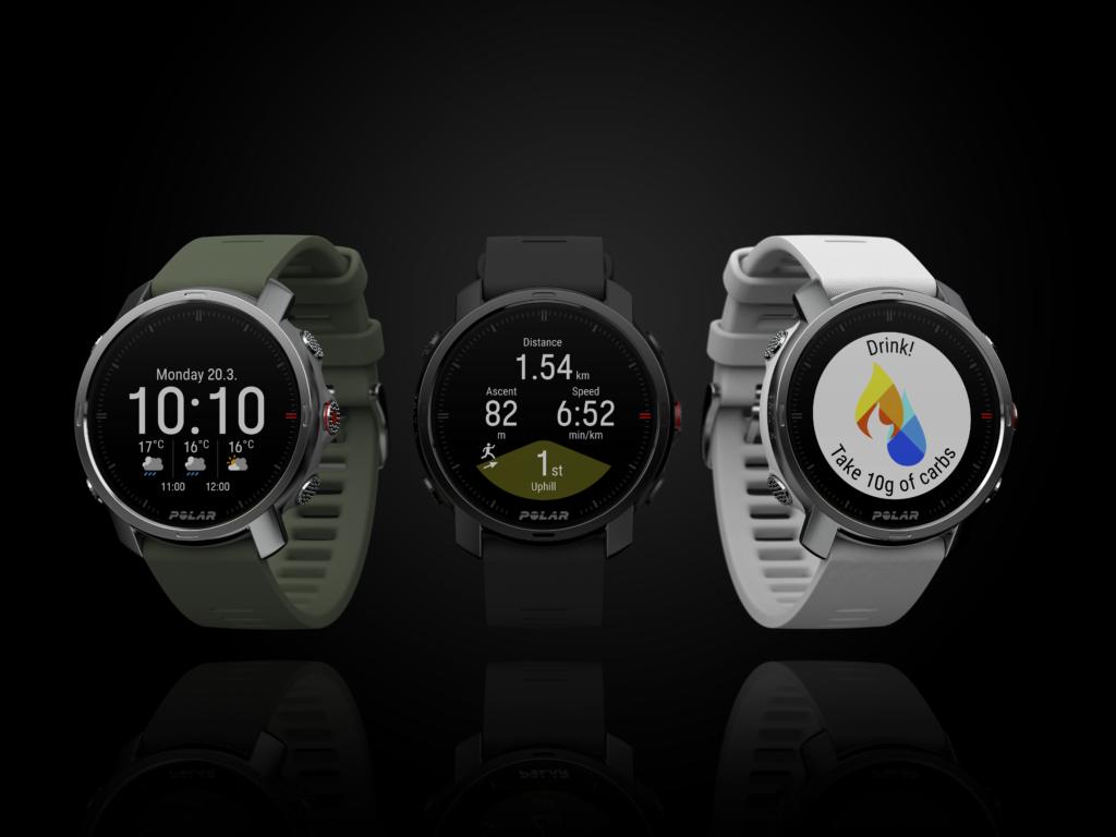 3 montres polar grit x. Couleur vert, noir et blanc.