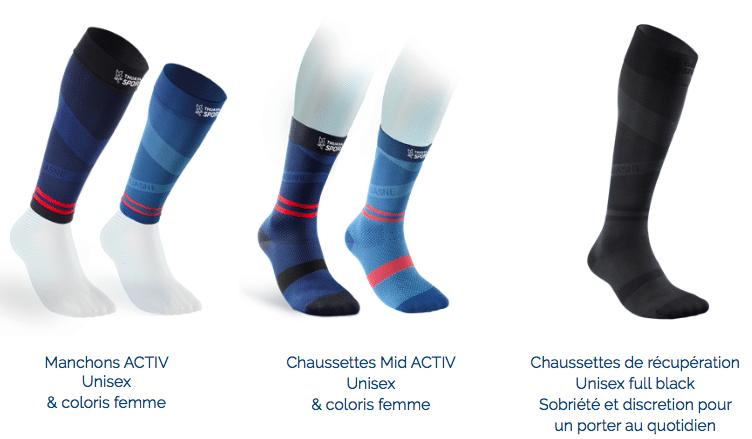 Présentation de 3 paires de chaussettes différentes (bleue et noire)
